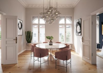 3d visualization of an elegant dining area